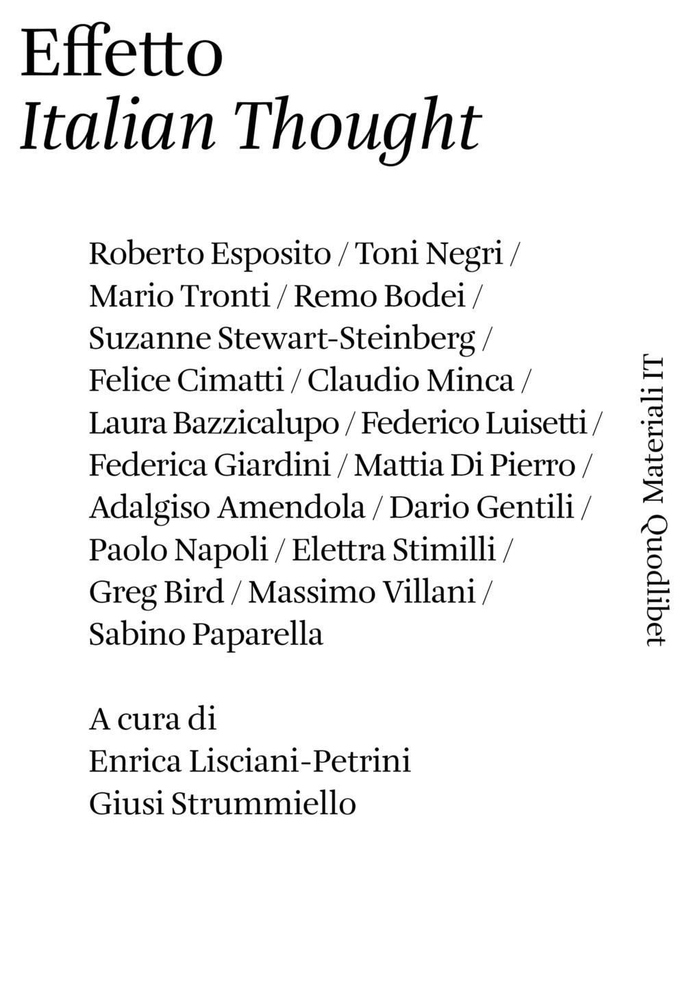 EFFETTO «ITALIAN THOUGHT» - 9788822901118