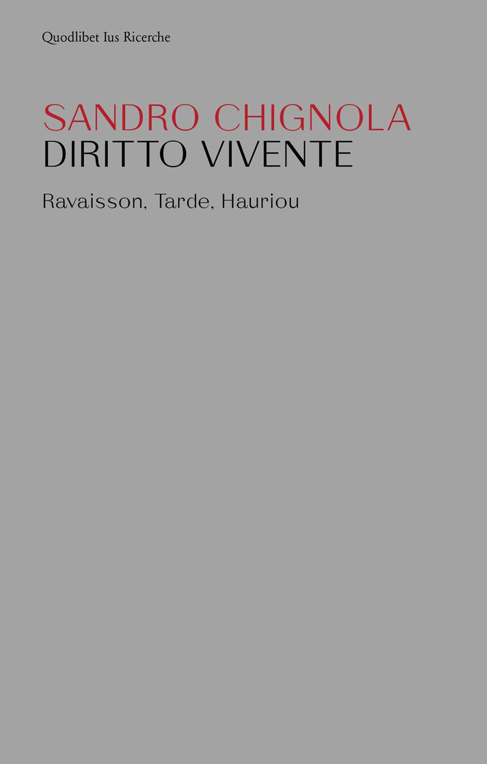 DIRITTO VIVENTE. RAVAISON, TARDE, HAURIOU - Chignola Sandro - 9788822905017
