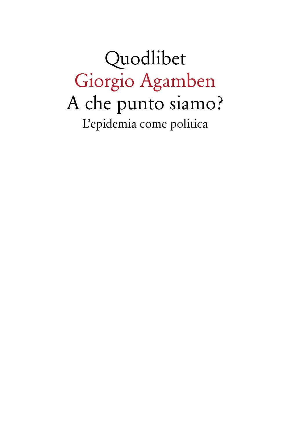 A CHE PUNTO SIAMO? L'EPIDEMIA COME POLITICA - 9788822905390