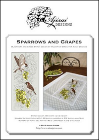 SPARROWS AND GRAPES. CROSS STITCH AND BLACKWORK DESIGN - Sardu Valentina - 9788875474188